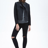 FOREVER 21 Wool-Blend & Faux Leather Jacket Charcoal/Black