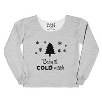 Baby it's cold outside pine tree snow-Unisex Heather Grey T-Shirt