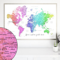 Custom quote - printable colorful gradient watercolor world map with cities, capitals, countries, US States... labeled. Color combination: Jude