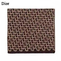 DIOR  Fashion New More Letter Print Women Men Keep Warm Scarf Coffee