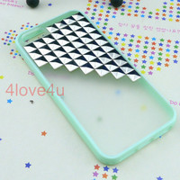 Studded iPhone 5 Case - Antique Silver Pyramid Studs Mint Color Frosted Translucent iPhone case,Studded Cases
