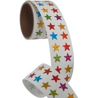 Bulk Roll Prismatic Stickers, Mini Stars / Multicolor (50 Repeats)