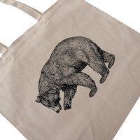 GRIZZLY BEAR Tote Bag -  California Bear on Natural Canvas BIG Shoppers Tote