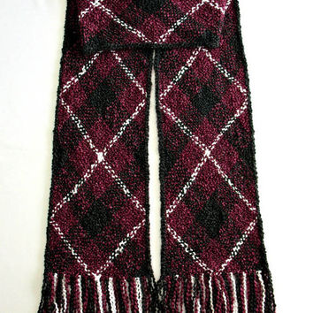 Red Scarf, Extra Long Winter Scarf, for Men Women, Handwoven Scarf, Burgundy Red and Black Scarf