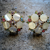 Vintage 60s Earrings  Mother of Pearl Gemstones Clip ons Rhinestone Gold Tone Mop Shell  1.5 X 1.5 Round