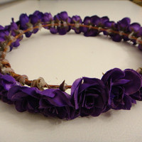 Dark Purple Rose Floral Crown