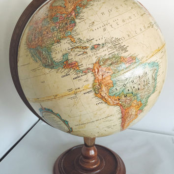 """Vintage World Nation Globe by Replogle, Sepia with Rustic Maple Wood Stand, 12"""" diameter - Collectible, Home Decor, Nursery Decor,"""