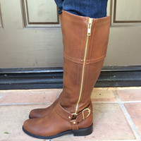 Cognac Buckle Knee High Boots - SALSA