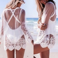 Hollow Out Mesh Lace Cover Up