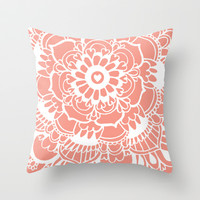 Coral Lacework Doodle Throw Pillow by Tangerine-Tane