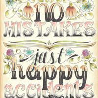 No Mistakes, Just Happy Accidents - Bob Ross Quote Print