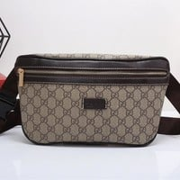 """Gucci"" Casual Fashion Classic Double G Letter Logo Print Chest Bag Messenger Bag Men Waist Bag"