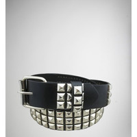 Black 3 Row Silver Pyramid Stud Belt