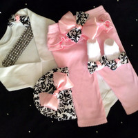 Newborn baby girl take home outfit pink damask pants beanie hat socks
