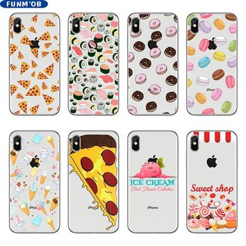 Cute Macaron Sushi Donuts Pizza ice Cream Soft Silicon TPU Phone Case Cover For iphone 6 6s 7 8 Plus 5 5s SE X Xs Max Xr Coque