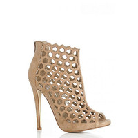 Womens Brown Quiz Nude Faux Suede Cut Out Shoe Boots