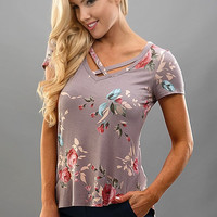 Criss Cross Floral Grey Shirt