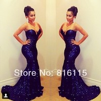 Sparkling Sweetheart Off Shoulder Sleeveless Mermaid Long Deep Blue Sequined Prom Dresses 2014 Short Trailing-in Prom Dresses from Apparel & Accessories on Aliexpress.com | Alibaba Group