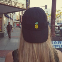 Black Pineapple Embroidered Cotton Baseball Cap