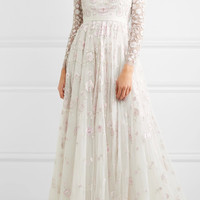 Needle & Thread - Rosette embellished embroidered tulle gown
