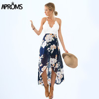 Aproms Women Summer Dresses Sexy V-Neck White Lace Patchwork Floral Party Dress Plus Size Sundresses Long Chiffon Beach Dress