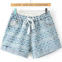 Faded Blue Drawstring Geometric Print Folded Denim Shorts