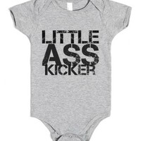 Little Ass Kicker-Unisex Heather Grey Baby Onesuit 00