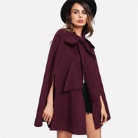 Elegant Woman Coat Korean Fashion Clothing for Womens Burgundy Long Sleeve Slit Back Tied Front Cape Coat