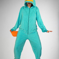 Phineas and Ferb 'Perry' Hooded Footed Adult Pajamas