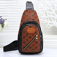 LV Louis Vuitton Tredning Men Leather Backpack Bookbag Daypack Satchel Brown