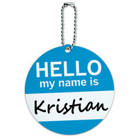 Kristian Hello My Name Is Round ID Card Luggage Tag