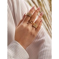 3pcs Textured Cut Out Ring