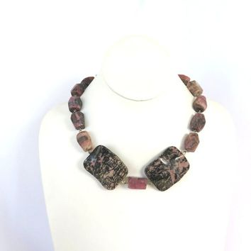 Chunky Rhodonite Statement Necklace, Boho Chic Pink Rhodonite Gemstone Necklace, Gift for Her