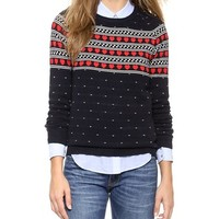 Chinti and Parker Cashmere Heart Yoke Sweater