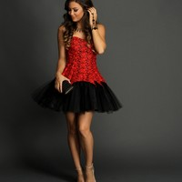 Carrie- Red Lace Formal Dress