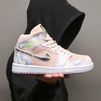 "Air Jordan 1 ""Tie-Dye"" high top sneakers basketball shoes Pink"