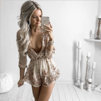 Sequined V Neck Romper B0014380