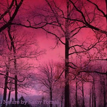 """Nature Photography, Dreamy Fantasy Dark Pink Surreal Woodlands, Haunting Forest Dark Pink Nature Photo 9"""" x 12"""""""