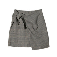 Self-Tie Detail Check Print Skirt | STYLENANDA