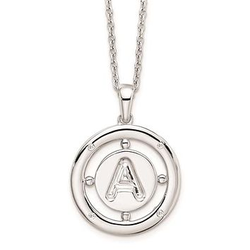 Sterling Silver White Ice .025ct. Diamond Initial Necklace - Various Letters