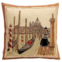 Polyester Cotton Retro Knitting Weaving Jacquard Decorative Pillow Cushion Cover Pillowcase 18×18 Inches,sexy Lady in the Square of Basilica Di San Marco