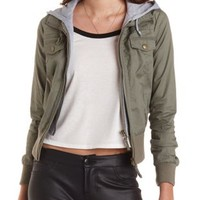 Hooded & Layered Bomber Jacket by Charlotte Russe