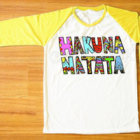 Hakuna Matata T-Shirt Hakuna Matata Shirt Colorful Shirt Yellow Sleeve Tee Women T-Shirt Men T-Shirt Unisex T-Shirt Baseball Tee Shirt S,M,L