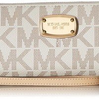 One-nice™ Michael Kors Jet Set Item Travel Continental Wallet Clutch Wristlet (PVC Vanilla