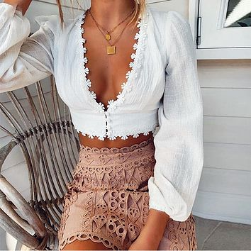 Sexy V Neck Cropped Womens Tops and Blouses Floral Appliques Long Sleeve Vintage White Cotton Linen Lace Shirt
