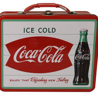 WHITE COCA-COLA TIN LUNCH BOX