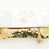 THE BRIDE / Satin & Sequin folded clutch- Ready to Ship