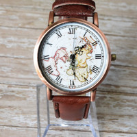 Woman Leather Watch, World Map Travel Gift Ideas