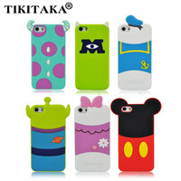 New arrival cute cartoon Mike Verney Pooh Alien Minnie and Sulley model silicon material Cover phone case for iphone 5 5S 5C SE