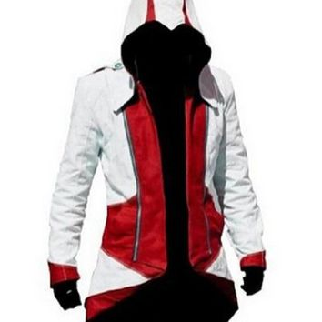 QualityBuyNow Cosplay Costume Hoodie/Jacket/Coat,White Red Men S